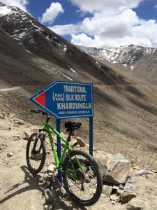 Biking the 7000 foot descent from the Khardungla Pass